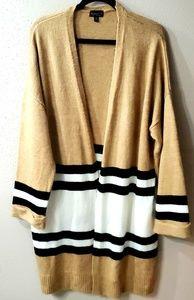 Topshop Tan Long Cardigan w/ Black-White Stripes